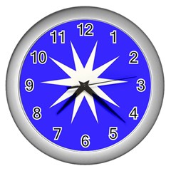 Deep Blue And White Star Wall Clock (Silver)