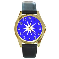 Deep Blue And White Star Round Leather Watch (Gold Rim)