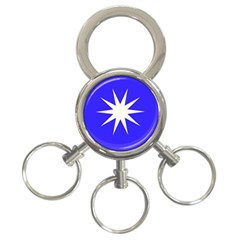 Deep Blue And White Star 3 Ring Key Chain