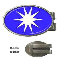 Deep Blue And White Star Money Clip (Oval)