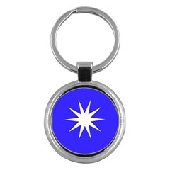 Deep Blue And White Star Key Chain (Round)