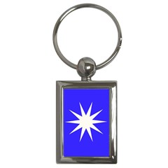 Deep Blue And White Star Key Chain (Rectangle)