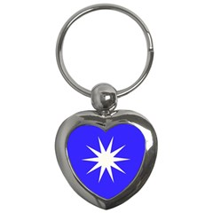 Deep Blue And White Star Key Chain (Heart)