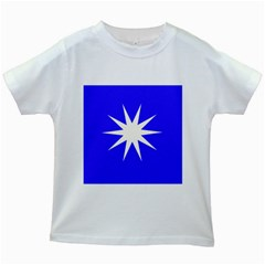 Deep Blue And White Star Kids T-shirt (White)