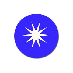 Deep Blue And White Star Magnet 3  (Round)