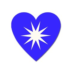 Deep Blue And White Star Magnet (Heart)