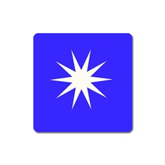 Deep Blue And White Star Magnet (square)