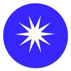 Deep Blue And White Star Magnet 5  (Round)