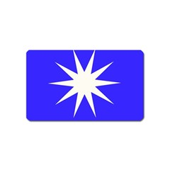 Deep Blue And White Star Magnet (Name Card)