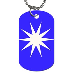 Deep Blue And White Star Dog Tag (One Sided)