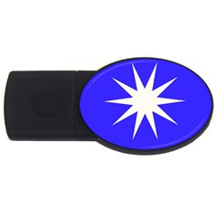 Deep Blue And White Star 1GB USB Flash Drive (Oval)