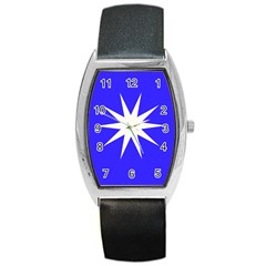 Deep Blue And White Star Tonneau Leather Watch