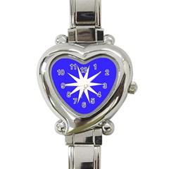 Deep Blue And White Star Heart Italian Charm Watch