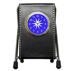 Deep Blue And White Star Stationery Holder Clock