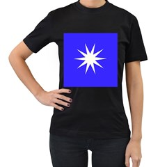 Deep Blue And White Star Women s Two Sided T-shirt (Black)