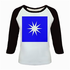 Deep Blue And White Star Kids Long Cap Sleeve T-Shirt