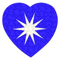 Deep Blue And White Star Jigsaw Puzzle (Heart)