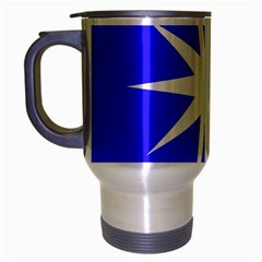 Deep Blue And White Star Travel Mug (Silver Gray)