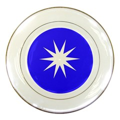 Deep Blue And White Star Porcelain Display Plate