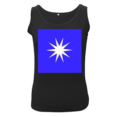 Deep Blue And White Star Women s Tank Top (Black)