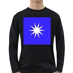 Deep Blue And White Star Men s Long Sleeve T-shirt (Dark Colored)