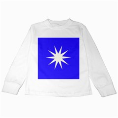 Deep Blue And White Star Kids Long Sleeve T-Shirt