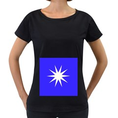 Deep Blue And White Star Women s Loose-Fit T-Shirt (Black)