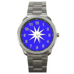 Deep Blue And White Star Sport Metal Watch