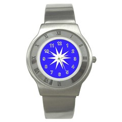 Deep Blue And White Star Stainless Steel Watch (Slim)