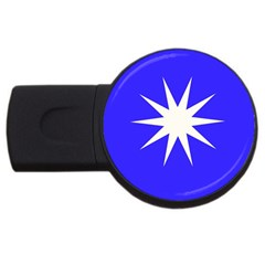 Deep Blue And White Star 4GB USB Flash Drive (Round)
