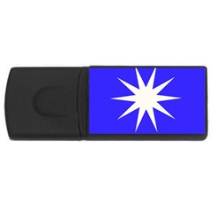 Deep Blue And White Star 4GB USB Flash Drive (Rectangle)