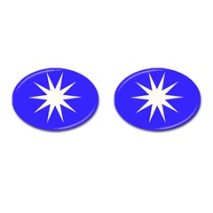Deep Blue And White Star Cufflinks (Oval)