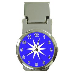Deep Blue And White Star Money Clip with Watch