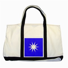 Deep Blue And White Star Two Toned Tote Bag
