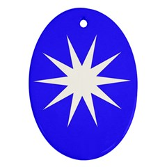 Deep Blue And White Star Oval Ornament (Two Sides)