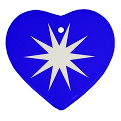 Deep Blue And White Star Heart Ornament (Two Sides)