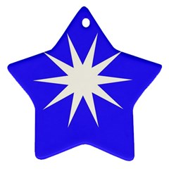 Deep Blue And White Star Star Ornament (Two Sides)