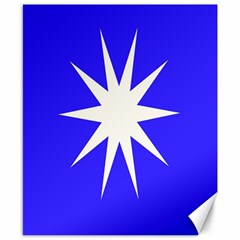 Deep Blue And White Star Canvas 8  x 10  (Unframed)
