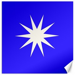 Deep Blue And White Star Canvas 12  x 12  (Unframed)