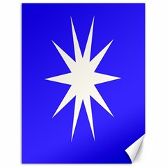 Deep Blue And White Star Canvas 12  x 16  (Unframed)