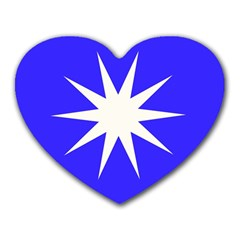 Deep Blue And White Star Mouse Pad (Heart)