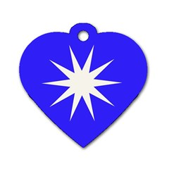 Deep Blue And White Star Dog Tag Heart (Two Sided)