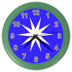 Deep Blue And White Star Wall Clock (Color)