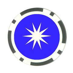Deep Blue And White Star Poker Chip