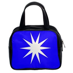 Deep Blue And White Star Classic Handbag (Two Sides)