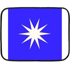 Deep Blue And White Star Mini Fleece Blanket (Two Sided)