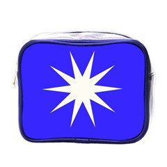 Deep Blue And White Star Mini Travel Toiletry Bag (One Side)