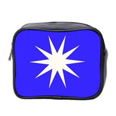 Deep Blue And White Star Mini Travel Toiletry Bag (Two Sides)