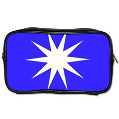 Deep Blue And White Star Travel Toiletry Bag (two Sides)