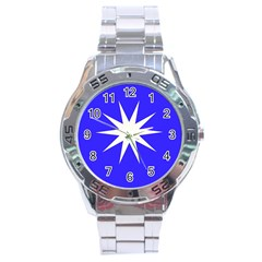 Deep Blue And White Star Stainless Steel Watch